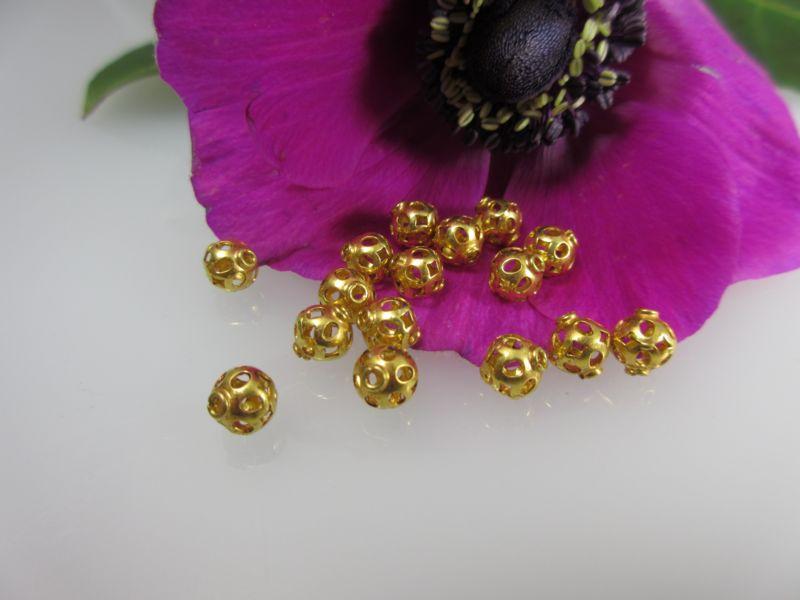 gz38 ein echtgoldzwischenelement 750er gold lochkugel klein ebay. Black Bedroom Furniture Sets. Home Design Ideas