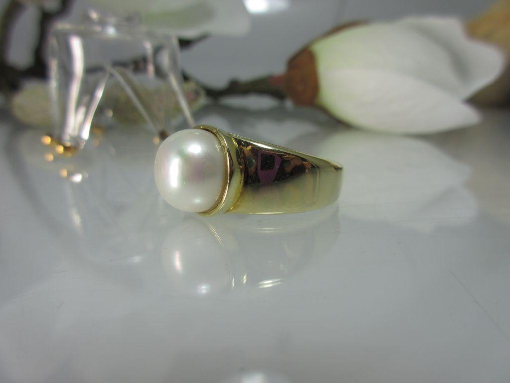 Perlenring 585er Gold