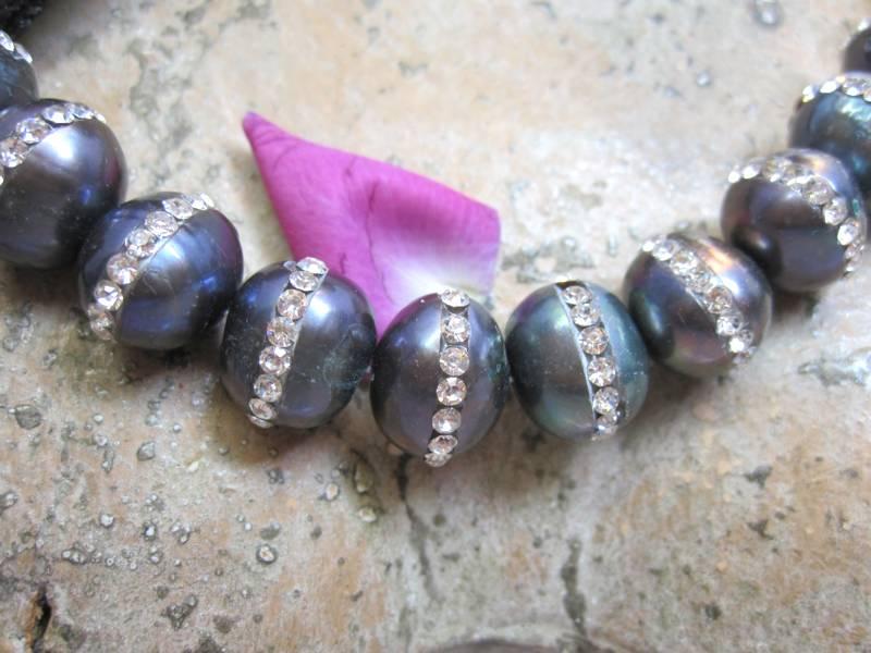 Perlen Halskette tahitifarbe