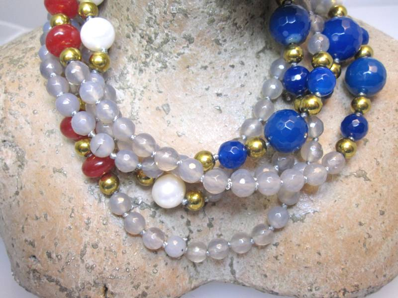 Halskette Achat und Perlen