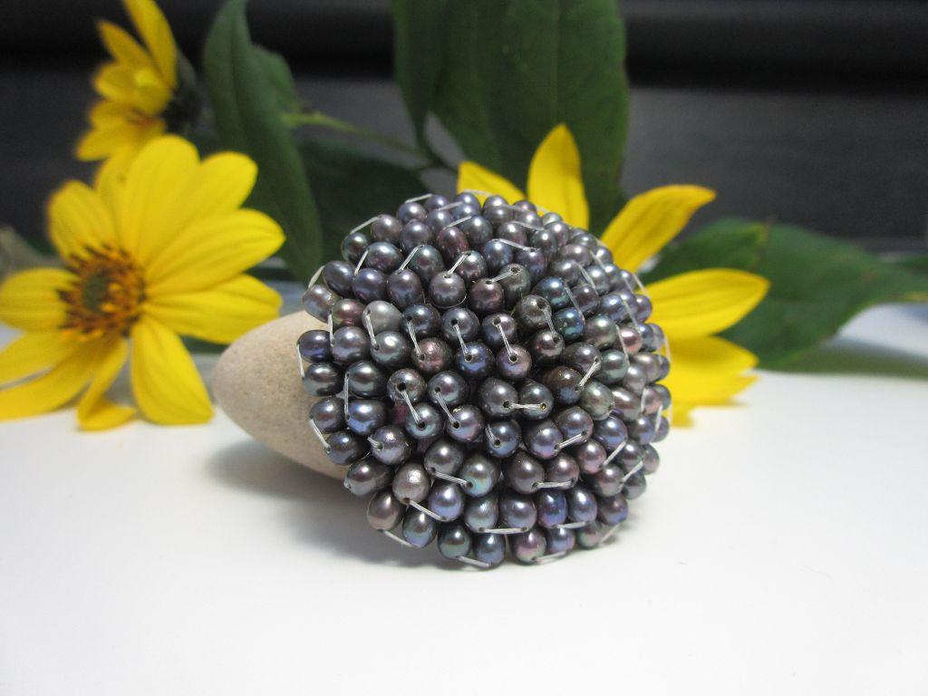 40mm Brosche mit vielen Süßwasserzuchtperlen Brosche Perlen