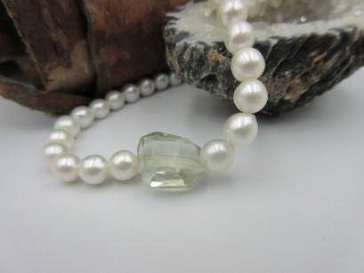 Perlenarmband mit Prasiolith Edelsteinen