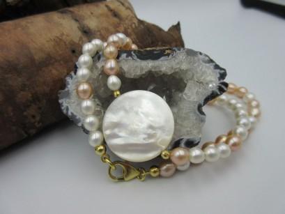 Perlenkette 2-farbig mit Perlmuttscheibe