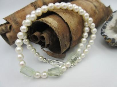 Perlenkette mit Prasiolith