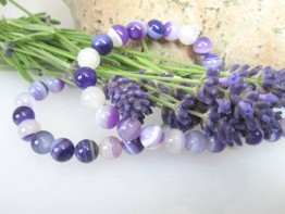 Achat unfacettierte Kugeln mit 8mm lila von Schmuckmueller