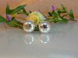DZ57 -- 2 Stück Kaschierperlen 925 Silber 10mm hochglanz