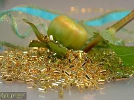 100 Quetschhülsen 2,0 x 2,0mm 925er Silber vergoldet, Modell F