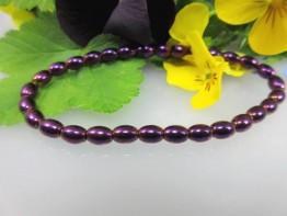 Hämatinstein in lila, ganz flexibles Armband mit 6x4mm Fässern