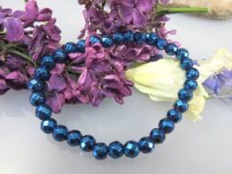 Blauer Hämatinstein, ganz flexibles Armband facett. Kugeln 5mm