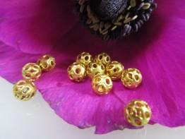 """GZ37 -- Ein Echtgoldzwischenelement 750er Gold""""Lochkugel"""" groß"""
