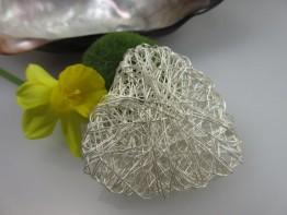 ZS199 - Ein riesiges Zwischenteil 925er Silber Herz geflochten