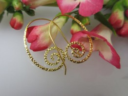 Lange Ohrhänger 925er Silber vergoldet Fischhakenbrisur