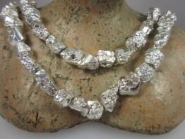 Katzengold/ Pyrit silber beschichtete Naturkristalle: Einzelne Perle