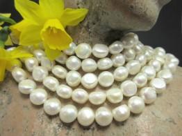 Zuchtperlen als Strang, weiß, Durchmesser 10mm schöner Lüster