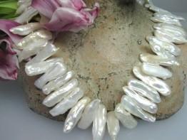 Keshiperlen weiß, Perlenstrang günstig, Mod.A Perlen