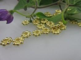 ZS523 -- Neu : 10 Stück Kugelsterne 8mm Kupfer vergoldet