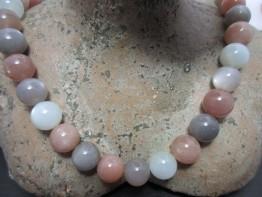 Mondstein mehrfarbig : Einzelne Edelsteinperle mit 12mm