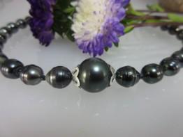 Tahitiperlenkette Unikatfertigung 925er Silber Magnetschließe