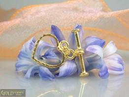 KS55 -- Knebelschließe Herzform 925er Silber vergoldet