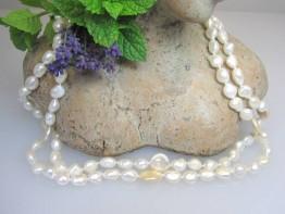 Perlenkette lang weiß 120cm, zwei Farben