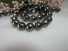 Tahitiperlencollier/ Strang mit barocken Perlen 9-10mm Nr.22