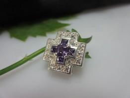Silberanhänger Kreuz, kplt. mit Steinen ausgefasst 15x15mm