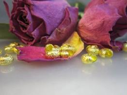 DZ70 --10 diamantierte Kaschierperlen goldgelb 5mm