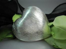 ZS515 -- Neu : Kupfer versilbert Riesenherz 40mm Durchmesser