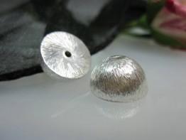 ZS533 -- Neu : 4 Stück Kupfer versilbert halbierte Kugel 12mm