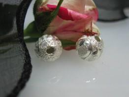 ZS529 -- Neu : 4 Stück Kupfer versilbert Kugel diamantiert 10mm