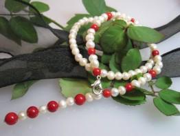 Süßwasser Perlencollier - Bambookoralle Mod.3