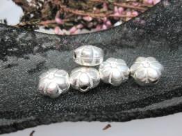 ZS557 -- Neu : 10 Stück plastische Blume Kupfer versilbert