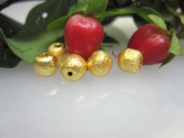 ZS560 -- Neu : 10 Stück mattierte Kugel Kupfer vergoldet