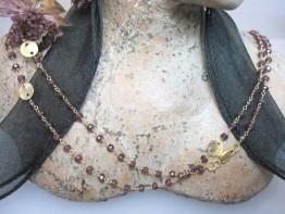 Fertige Designerkette 925er Silber mit Granatedelsteinen 90cm