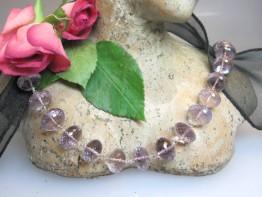 Fertige Kette aus feinem lila Amethyst facettierte Rondellen
