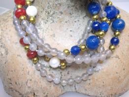 Ganz lange Edelsteinkette 150cm, versch. Achate und Perlen
