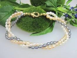 Saatperlen als Perlenarmband, 3-reihig von Schmuckmueller