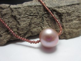 Granatkette Perle,fertiges Collier mit 14mm Perle