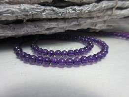 Amethyst transparent, Strang 3mm Kugeln