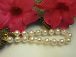 Armband Perlen mit Amethystkugeln und Magnetschließe 925er
