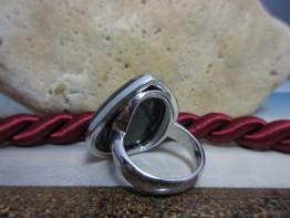 Azurit Ring in 925er Silber Bicolor Größe 56