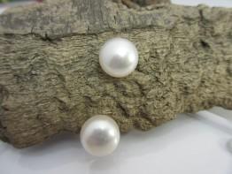 Bouton Perlen weiß, 2 Stück angebohrte Süßwasserperlen 12mm