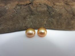Boutonperlen golden 2 Stück angebohrt 6,5-7,0mm AAA+