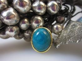 Chrysokoll Edelstein Ring 925er Silber Größe 55 Modell 2