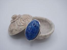 Chrysokoll Fingerring in massiv 925er Silber Größe 57