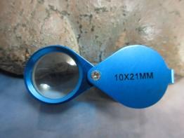 Einschlaglupe 10x21mm mit blau eloxiertem Metallgehäuse