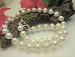 Halskette Perlen mit Amethystkugeln und Biegeschließe 925er