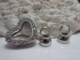 Herzschließe Silber mit facettierten Steinen KS153