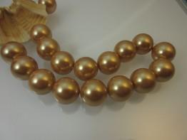 Muschelperlen gold Strang Durchmesser 16mm