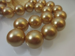 Muschelperlen gold Strang Durchmesser 18mm